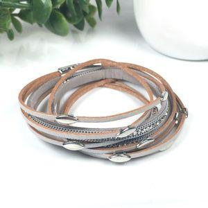 Silver Leather Wrap Bangle Magnet Bracelet